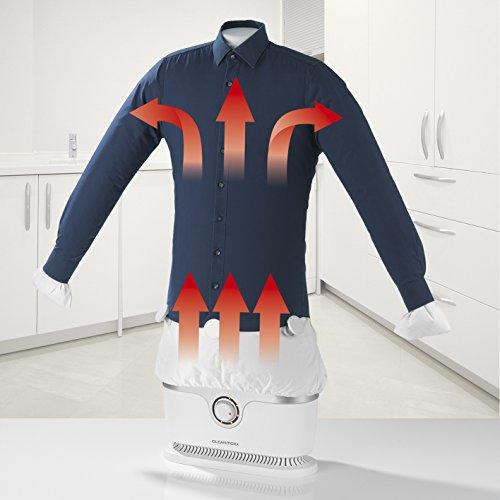 Automatischer Bügler für Hemden und Blusen, Bügelpuppe (Trocknet und bügelt Kleidung automatisch in einem Schritt) (Schnee Weiß / Silber)